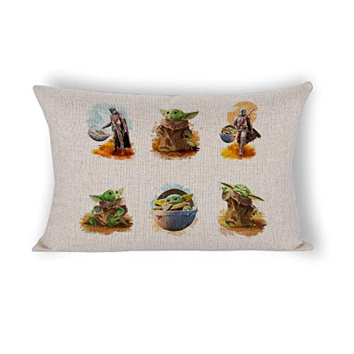 Ma-nda-lorian and Yo-da - Funda de almohada cómoda con cierre de cremallera oculta (76,2 x 50,8 cm)