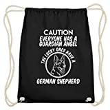 Caution Everyone Has A Guardian Angel Lucky Ones Have A German Sheperd - Bolsa de gimnasio de algodón, color Negro, talla 37cm-46cm