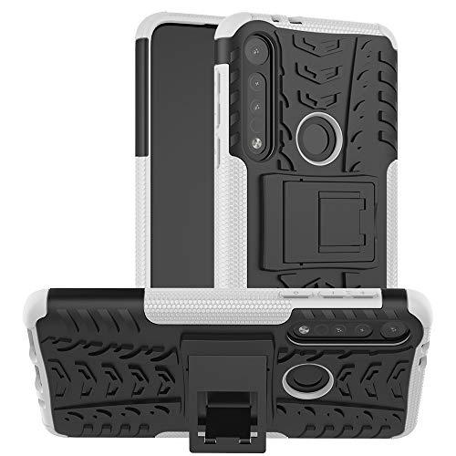 JZ Capa com design de padrão de pneu para Motorola Moto G8 Play/One Macro com [Suporte] Capa traseira resistente a arranhões à prova de choque - Branca