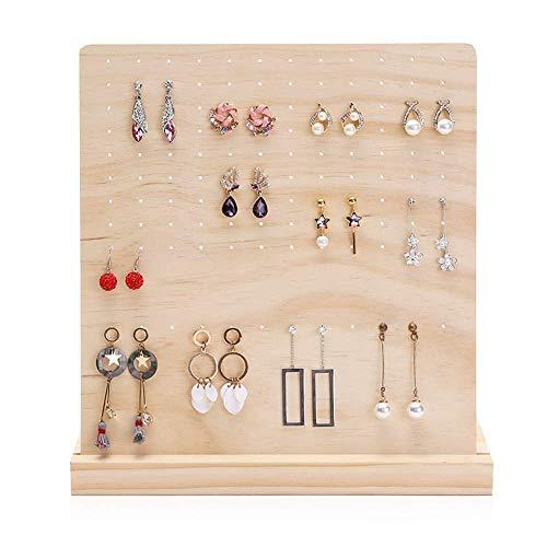 JOMOSIN SNH0216 - Organizador de pendientes con bandeja para joyas (color: madera, tamaño: 27,5 9,5 28 cm)