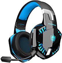 PS4 Gaming Headset for PC, Xbox One, PS5, PHOINIKAS G2000 Wired Over Ear Headphones with Detachable Noise Cancelling Mic, Bluetooth Wireless Earphones for Phone, Tablet, One-Click 7.1 Sound, Up to 12h