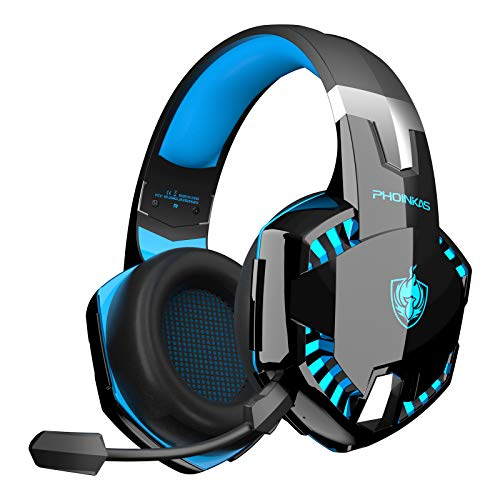 PHOINIKAS G2000 Wired Gaming Headset for PS4, Xbox One, PC, PS5, Over Ear Headphones with Detachable Noise Cancelling Mic, One-Click 7.1 Sound, Bluetooth Wireless Headset only for Phone, Up to 12h