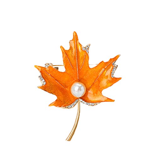 seven wolves Women Brooch Pins Maple Leaf Brooches Fashion Crystal Corsage Breastpin in Bag/Scarf/Coat/Dress/Sweater/Hat, Orange 1 (with Boxes)