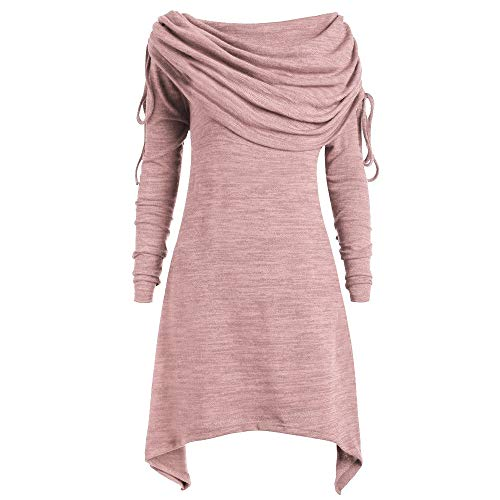 TWIFER Damen Solide Geraffte Lange Sweatershirt Off Shoulder Sweater Foldover Kragen Tunika Große Größen (3XL/EU 44, Rosa)