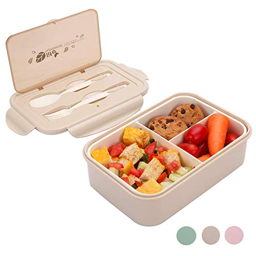 Lunchbox, Bento Boxen, Brotdose, Auslaufsichere Lunch-Boxen Kinder und Erwachsene, Bento Lunch Boxen mit 3 Fächern und Besteck, Lebensmittelbehälter BPA-frei, mikrowellen- und spülmaschinenfest(Khaki)