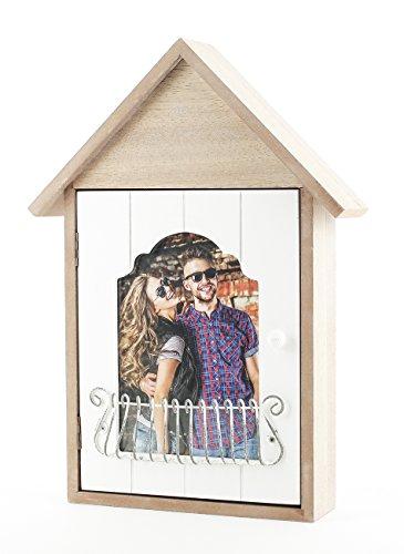 Schlüsselkasten Bilderrahmen 34x24cm - Aufbewahrung für Schlüssel aus Holz weiß braun - vintage shabby chic Landhaus Stil - Haus Häuschen Schlüsselbrett 1 Foto 6 Haken