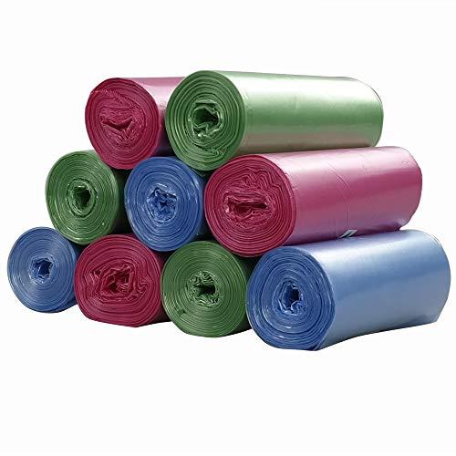 Ordate 20 Litros Bolsa de Basura Saco de Basura, Azul Verde Rosado, 180 Cuentas / 9 Rollos