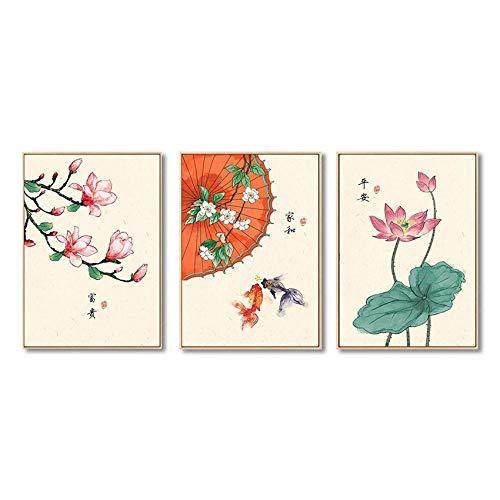 Chinese Stijl Retro Lotus Magnolia Planten Bloem Goudvis Canvas Schilderij Poster en Print Home Decor Art Foto voor Bedr-50x70cmx3pcs geen frame