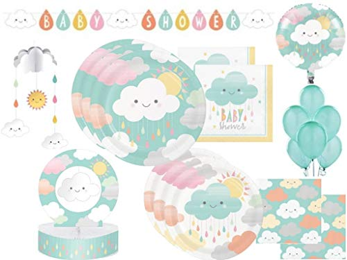 Sunshine Baby Showers Tableware and Decoration Party Supplies Pack: Plates, Napkins, Balloons, Banner, Danglers, and Honeycomb Centerpiece for 24 Guests (132 Pieces)