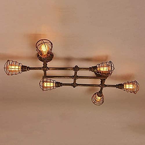 Techo suspendido industrial Colgante Luz de metal Tubería de agua Luz Vintage - Lámpara de techo de montaje en descarga para comedor Cocina Cocina Sala de estar Barra de iluminación - E27 MAX