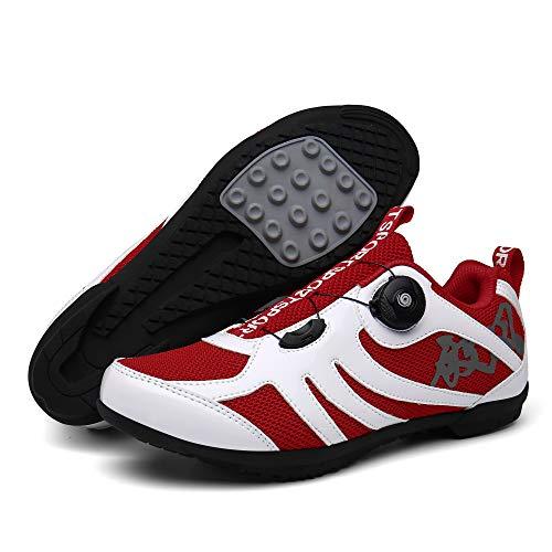 KUXUAN Zapatillas Ciclismo Hombre Mujer,Zapatillas de Ciclismo Unisex,Calzado de Entrenamiento Antideslizante,para Ciclismo Correr Bicicleta de Montaña Ejercicio Fitness,White+Red-12UK=(280mm)=46EU
