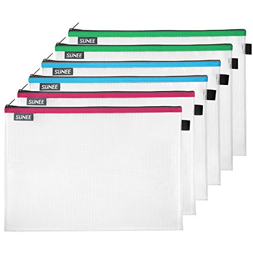 SUNEE Plastic Mesh Zipper Pouch Document Bag 10x14 in - (Assorted Color, 6 Pack) Letter Size Waterproof Document Pouch for School Office Supplies, Cross Stitch Organizing Storage