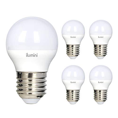 ilumini Bombillas led G45 Esférica, Casquillo E27,5W equivalente a 40w, 3000K Luz Cálida, 470 Lúmenes [Clase de eficiencia energética A+] PACK DE 5