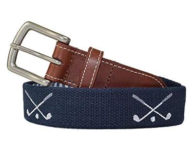 Golf Clubs Embroidered Men's Belt (Patriot Navy) by J.T. Spencer (40)