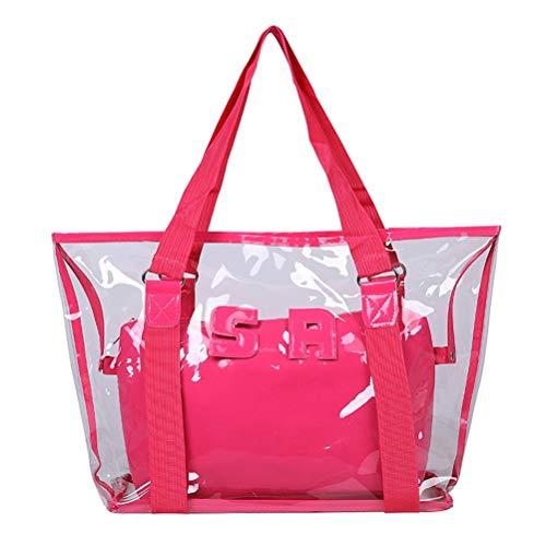 fansheng Borsa a tracolla impermeabile per lo shopping, borsa a tracolla trasparente, borsa a tracolla per la spesa da spiaggia, regalo per donne e ragazze