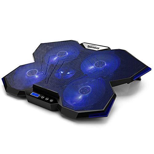 TopMate Pad di Raffreddamento per Laptop C7, radiatore per Laptop da Gioco Fino a 15,6 Pollici | 5 ventole silenziose con indicatore LED Blu 2 Porte USB | Design Decorativo Blu Oceano