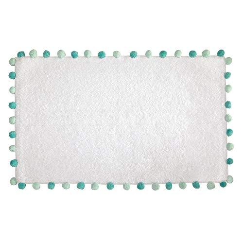 iDesign Pom Pom tapis de bain doux, sortie de douche rectangulaire en coton, blanc et bleu