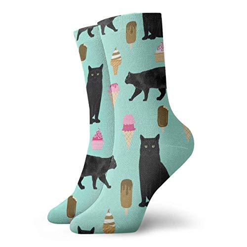 Damen Socken #2, lustige schwarze Katze, Eiscreme, 30 cm