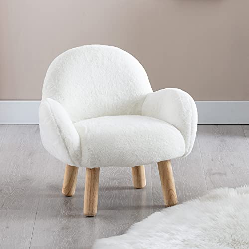 Wahson Faux Fur Children's Armchair Single Kids Sofa Chair with Wooden Legs,Kids Desk Chair for Bedoom/Playroom (White)