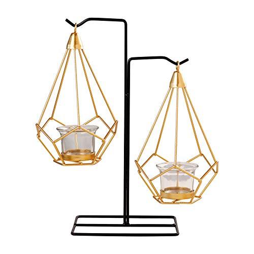Eco Memos Portacandele Moderno in Metallo Geometrico a Lume di Candela per Candela a Colonna - Set di Candelabri Geometrici in Metallo per Decorazioni per la Casa (Equilibrio)