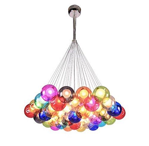 Kronleuchter Pendel Leuchter Hängeleuchte Pendelleuchte Farbige Bubble Ball Lampe Glas Esszimmerlampe Für Mehrflammige Leuchten Buntglas Höhenverstellbare 100CM (Color : Color : 37 Head)