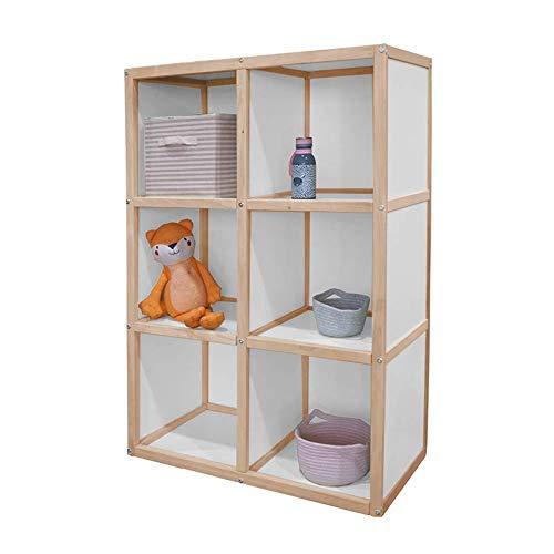 Kit Mobiliario Cómoda de Madera Organizador de 6 Espacios Estantes de Almacenamiento Librero Infantil Montessori