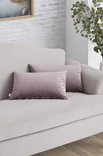 Easycosy - Pack Funda de Cojín Decorativo para Sofá - 30x50-45x45 cm - Tejido Terciopelo y Acolchado - Ideal para Decorar su sofá (30x50cm, Malva)