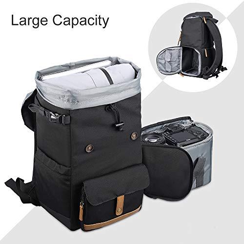 K&F Concept Multifunktions-Kamerarucksack 600D Polyester Wasserdicht Fotoausrüstung Reisetasche für Stativ DSLR-Kamera und Zubehör Schwarz