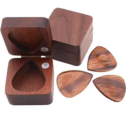 Personalisiertes Holzplektrum Gitarrenplektren aus Echtholz Hölzerne Gitarren-Picks mit Gitarren-Pick-Box-Fall-Halter Sammler-Gitarren-Pick Musikzubehöhr für Akustik und Bass-Gitarren