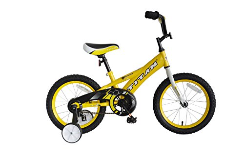 """TITAN Champion Deluxe Boys BMX Bike with 16"""" Wheels, Training Wheels Included, Bright Yellow"""