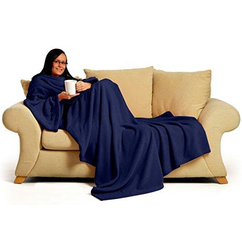 Snug Rug Deluxe Kuscheldecke mit Ärmeln für Erwachsene Vlies-Decke mit Ärmel, aus Coral-Fleece, 214 x 152cm (Marineblau)