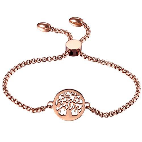 OIDEA Edelstahl Armkette Damenarmband Armreif Charmsarmband Lebensbaum Anhänger Armband Verstellbar für Damen, Rosegold