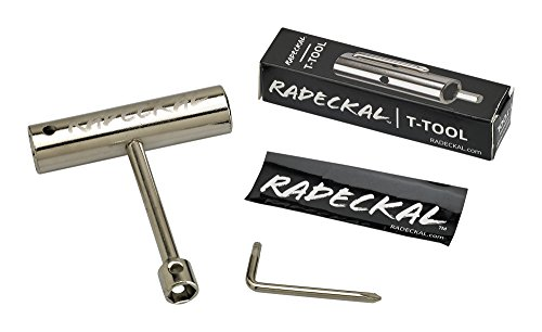 RADECKAL Compact Pocket Skate Tool- T Tool All in One Skate Tool for Skateboards, Longboards, Mini Skateboards, and Cruisers- Collapses to a Compact Size to Fit in Your Pocket (Silver)