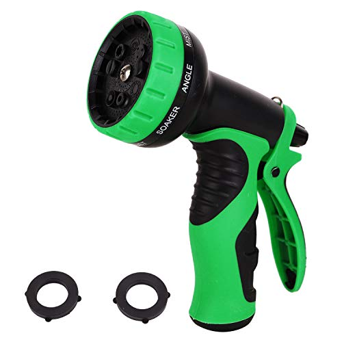 VERAGREEN Garden Hose Nozzle Hand Sprayer Features 9 Spray Patterns Thumb Control On Off Valve for Easy Water Flow Control - HIGH Pressure Hose Nozzle Sprayer