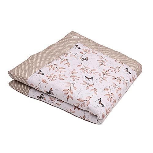 SWADDYL ® Baby Krabbeldecke - Kuscheldecke, Spieldecke, Laufgittereinlage 100x100 groß gepolstert (Beige Schmetterlinge)