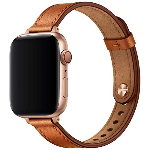 OUHENG Slim Band Compatible with Apple Watch Band 41mm 40mm 38mm 45mm 44mm 42mm, Women Genuine Leather Band Replacement Thin Strap for iWatch SE Series 7 6 5 4 3 2 1 (Brown/Rose Gold, 41mm 40mm 38mm)