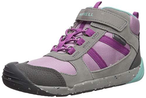 Merrell Kids' Unisex Bare Steps Ridge Hiking Boot, Grey/Purple, 02.5 M US Little Kid