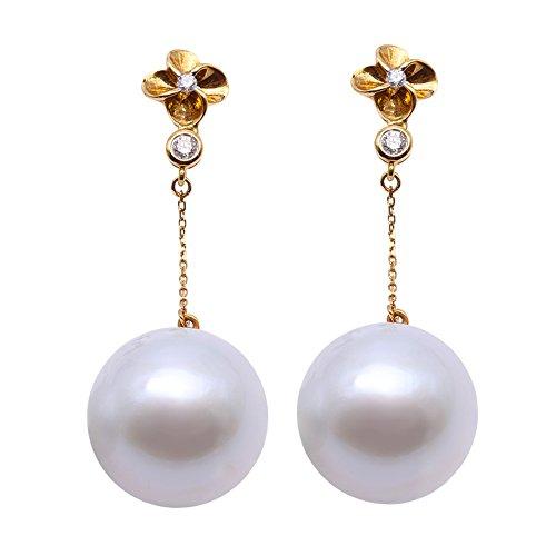 JYX Orecchini pendenti in oro 18 carati con perle AAA+di qualità, lussuosi e genuini da 16 mm, rotonde, con perle coltivate del Mar del Sud, per le donne