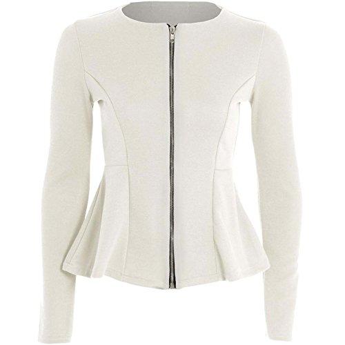 Dames Zip Peplum Ruffle Plus Size Tailored Blazer Jas Top Maat 8-26 -Crème -UK 12 (95% Polyester, 5% Elastaan )