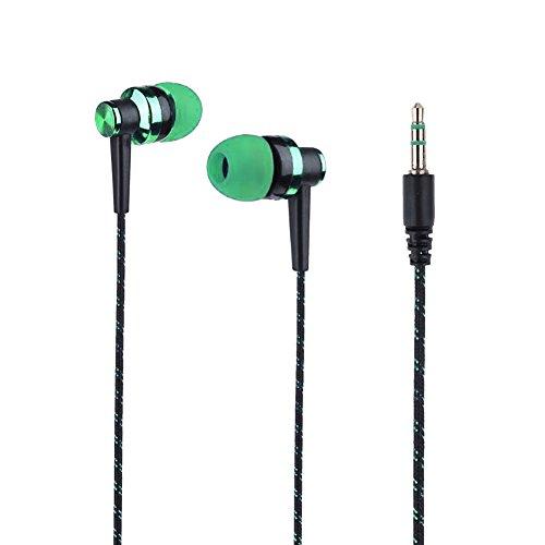 HShyxlkj In-ear oordopjes met gevlochten touw, stijlvolle stereo in-ear hoofdtelefoon met gevlochten snoer en hoofdtelefoon zonder microfoon groen