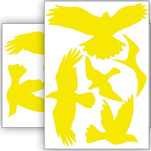Vogelschutz & Fensterschutz - 10 Aufkleber - Schutz vor Vogelschlag - Sticker Vögel (Gelb)