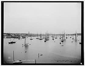 HistoricalFindings Photo: NYYC fleet, York Yacht Club,boats,ships,Newport harbor,Rhode Island,RI,1888