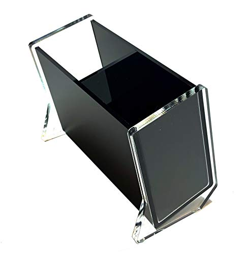 Stanley Acrylic Rocket Pencil and Pen Holder, Slanted 2-Section, Black & Clear, Desktop Stationary Organizer Modern Design Office Desk Accessory