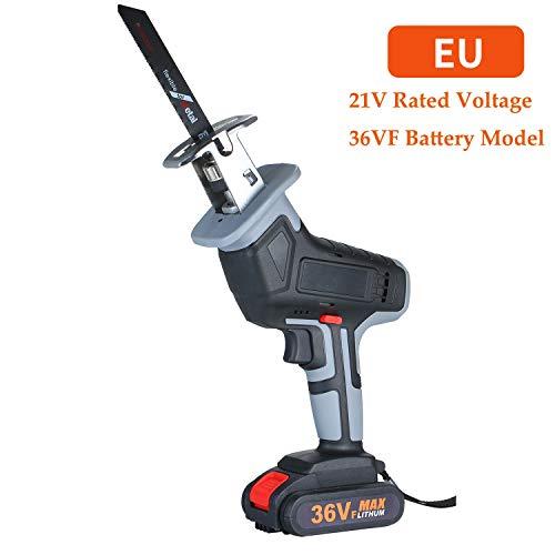 Elektrische reciprozaag 36 VF accu-lithium-ion-reciprozaag snellader voor het zagen van hout met variabele snelheid en zonder gereedschap wisselen van zaagblad 21 V bedrijfsspanning 1 batterij EU 36Vx1