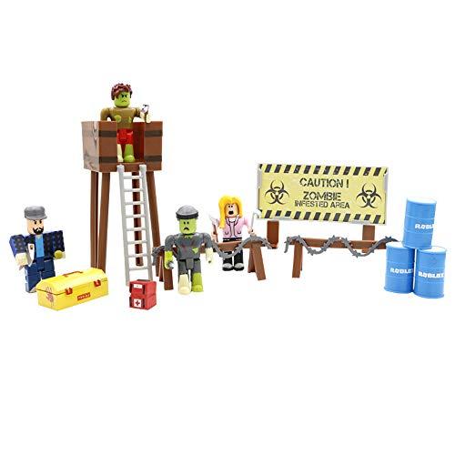Yhkjkjiswv Roblox Estatuilla de Juguete Juguetes de decoración Modelo Building Blocks, Zombies, 4 Piezas + Accesorios (Color : A01, Size : 35.5 X 28 X 8.2cm)