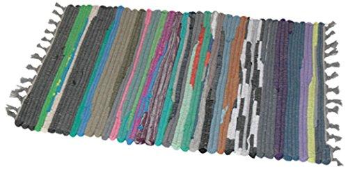 JVL Flickenteppich, aus Recycling-Material, Chindi-Design, handgefertigt, Mehrfarbig, 50x 80cm