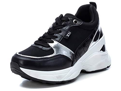 XTI - Zapatilla para Mujer - Cierre con Cordones - Color Negro - Talla 37