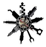 Reloj De Pared Ventas de Coches Servicio de Piezas Reloj de Pared Vintage Taller de reparación de mecánico Reloj de Pared con Disco de Vinilo Pub Bar Decoración de Garaje (30cm)