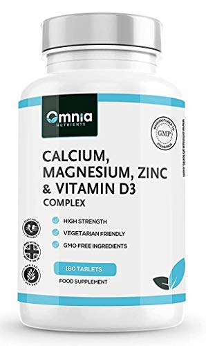 Calcium, Magnesium, Zinc & Vitamin D3 Supplement | 180 High Strength Vegetarian Tablets | Made in The UK by Omnia NUTRIENTS