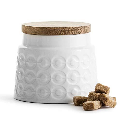 Sagaform - Vorratsdose / Aufbewahrungsdose - Keramik - Eiche - weiß - Höhe 10 cm – 500 ml